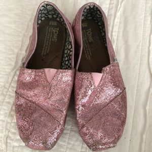 Toms Pink Sparkle Classics size 6.5